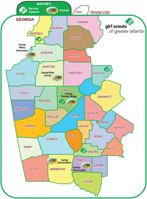 Girl Scouts of Greater Atlanta Council Map