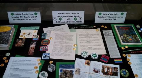 """Celebrating Georgia Archives Month with Girl Scouts!"" on display in Marietta's Switzer Library"